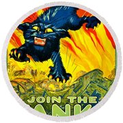 Recruiting Poster - Ww1 - Join The Tank Corps Round Beach Towel