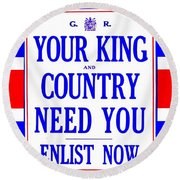 Recruiting Poster - Britain - King And Country Round Beach Towel