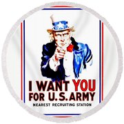 Recruiting Poster - Ww1 - I Want You Round Beach Towel