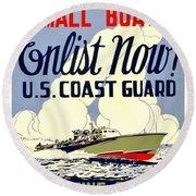 Recruiting Poster - Ww2 - Coast Guard Round Beach Towel