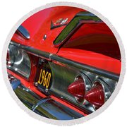 Red 1960 Chevy Round Beach Towel