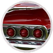 Red 1960 Chevy Tail Light Round Beach Towel