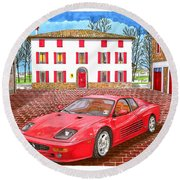 Enzo Ferrari S Garage With 1995 Ferrari 512m Round Beach Towel