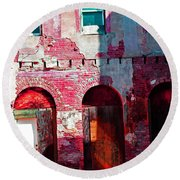 Red Abandonment Round Beach Towel