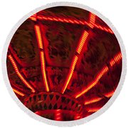 Red Abstract Carnival Lights Round Beach Towel