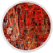 Red Abstract Panel Round Beach Towel by Carol Groenen