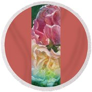 Red-amber-green Round Beach Towel by Mohamed Hirji