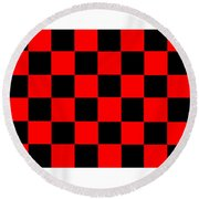 Red And Black Checkered Flag Round Beach Towel