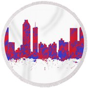 Red And Blue Art Print Of The Skyline Of Atlanta Georgia Usa Round Beach Towel