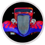 Red And Blue Custom Round Beach Towel
