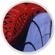 Red And Blue Fantasy Round Beach Towel