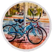 Red And Blue Rides Round Beach Towel