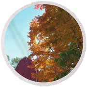 Red And Gold And Blue Round Beach Towel