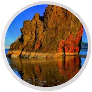 Red And Gold In The Sea Round Beach Towel