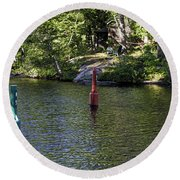 Red And Green Buoys Round Beach Towel