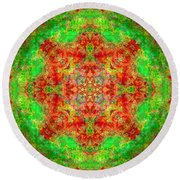 Red And Green Sun Mandala Round Beach Towel