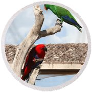 Red And Green Parrots Round Beach Towel