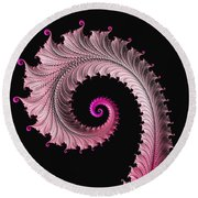 Red And Pink Fractal Spiral Round Beach Towel