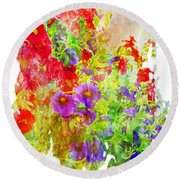 Red And Purple Calibrachoa - Digital Paint II Round Beach Towel