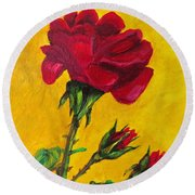 Red And Small Round Beach Towel