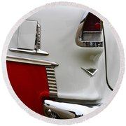 Red And White 1955 Chevy Round Beach Towel