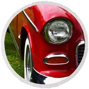 Red And White 50's Chevy Round Beach Towel