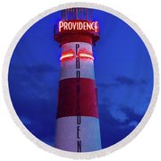 Red And White Lighthouse Shows Neon Round Beach Towel