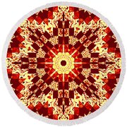 Red And White Patchwork Art Round Beach Towel