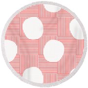 Red And White Poof  Round Beach Towel