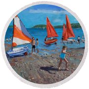 Red And White Sails Round Beach Towel by Andrew Macara