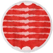 Red And White Shibori Design Round Beach Towel by Linda Woods