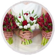 Red And White Tulip And Rose Wedding Bouquets Round Beach Towel