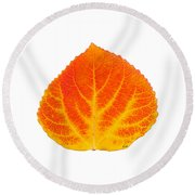 Red And Yellow Aspen Leaf 5 Round Beach Towel