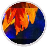 Red And Yellow Bloom In A Blue Paradise Round Beach Towel