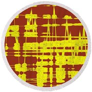Red And Yellow Wave No 3 Round Beach Towel