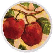 Red Apples On A Branch Round Beach Towel