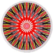 Red Arrow Abstract Round Beach Towel