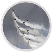 Red Arrows Flying In Formation Round Beach Towel