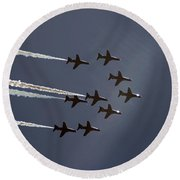 Red Arrows Flying Into The Sun Round Beach Towel