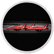 Red Arrows Threesome Take-off Round Beach Towel
