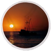 Red At Night Sailor's Delight Round Beach Towel