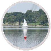 Red Ball Sailing Round Beach Towel