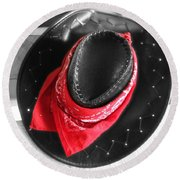 Red Bandana And Cowboy Hat Round Beach Towel