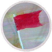 Red Banner Round Beach Towel