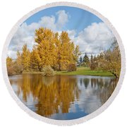 Red Barn And Fall Colors Reflected In A Pond Round Beach Towel