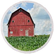 Red Barn And New Corn Round Beach Towel