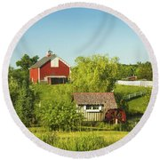 Red Barn And Water Mill On Farm In Maine Round Beach Towel