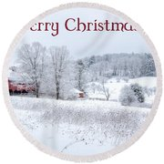 Red Barn Christmas Card Round Beach Towel