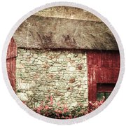 Red Barn Enhanced Round Beach Towel