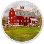 Red Barn In Woodstock Vermont- Red Barn Art Round Beach Towel